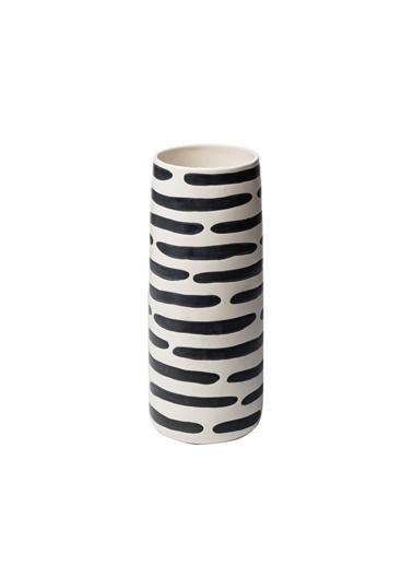 Warm Design Çizgili Vazo Siyah